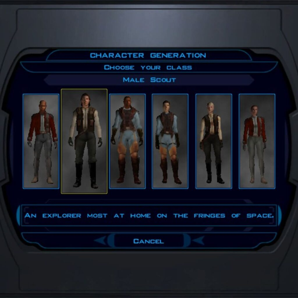 Character creation in Knights of the Old Republic